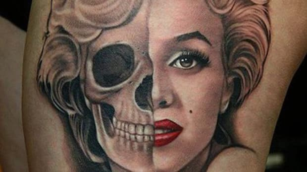 Marilyn Monroe-Skeleton-Rose Tattoo by Aaron Peters (TN)