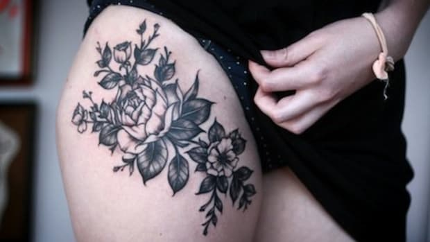 alice-carrier-rose inner thigh tattoo