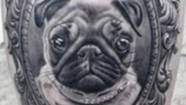 Pug Cameo Portrait Tattoo TN