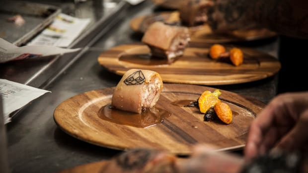 (Samples of the tattooed pork that will be served at the INKed dinner. Photo: Thompson Seattle)