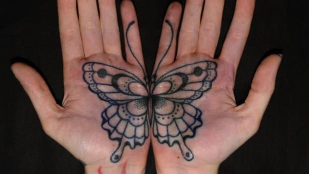 3 Butterfly palm tattoo by Shane Gallagher on tattooer rose hardy