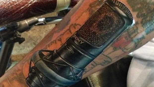 The Game's Sony Microphone Tattoo by Roman Abrego.