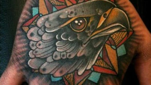 Traditional Bald Eagle hand tattoo by Mitch Allenden (TN)