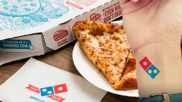 Domino's Logo, Domino's tattoo, free pizza, lifetime supply of dominos pizza, pizza tattoos, russian dominos, The Moscow Times, VKontakte, доминоснавсегда