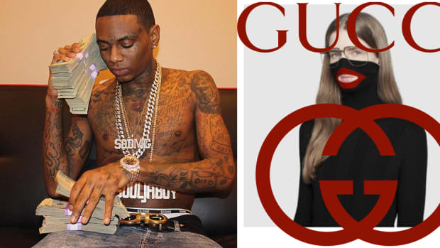 Soulja boy, Soulja boy face tattoo, Gucci tattoo, gucci scandal, Gucci blackface sweater, wool balaclava sweater, Gucci wool balaclava jumper, dapper dan, CEO Gucci, tattoo removal, Soulja boy forehead tattoo, Soulja boy Gucci tattoo, INKED