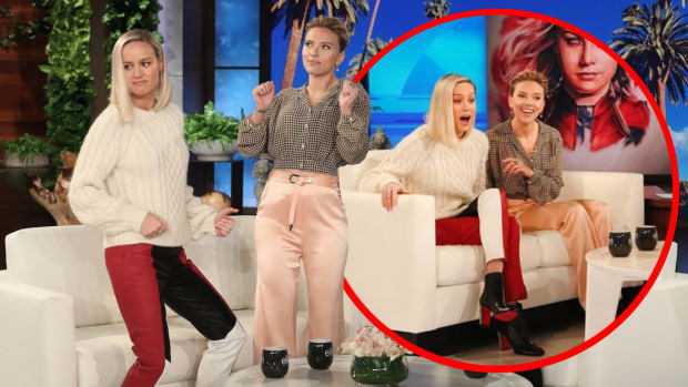 Watch Scarlett Johansson and Brie Larson React To Fan Tattoos Of Their Faces, Ellen Degeneres, Ellen degeneres show, Scarlett Johansson and Brie Larson, Scarlett Johansson, Brie Larson, avengers endgame, avengers, avengers tattoos, avengers endgame tattoos, Scarlett Johansson tattoos, Brie Larson tattoos, josh lord east side ink, INKED