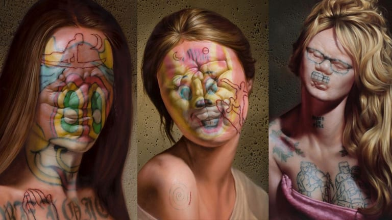 This Artist Paints Disturbing Face-Tatted Subjects