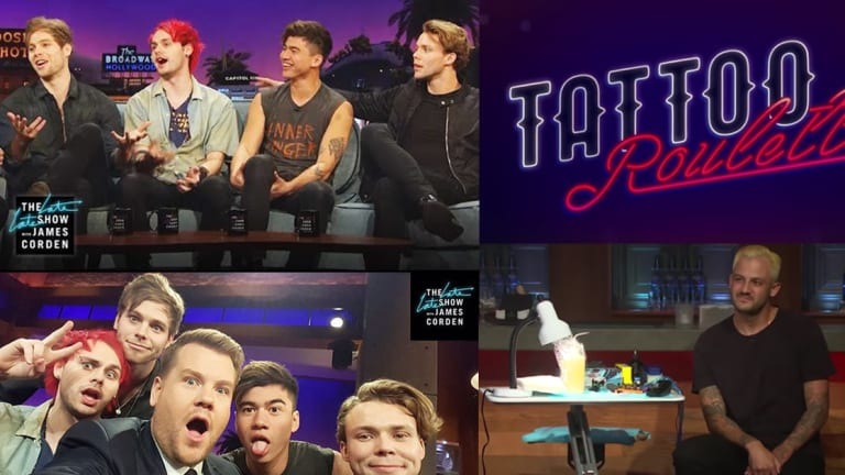 "5 Seconds of Summer Play ""Tattoo Roulette"" on James Corden's Late Late Show"