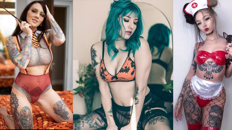 20 Inked Girls in Sexy Halloween Lingerie
