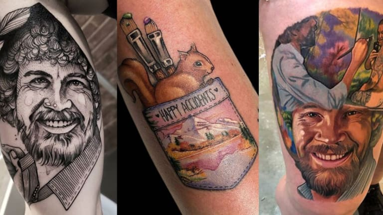 15 Tattoos Inspired by Painter and Personality Bob Ross