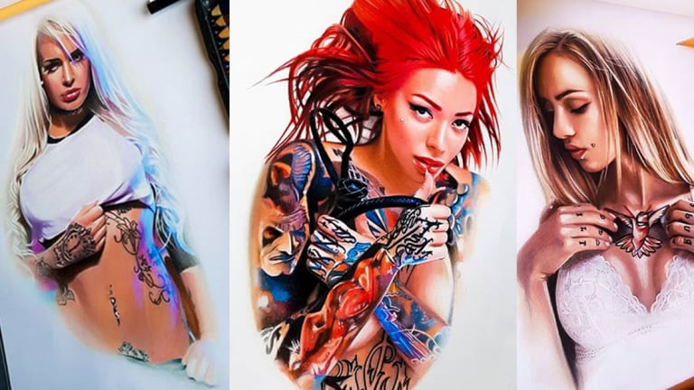 This Artist Creates Beautiful Drawings of Sexy Tattooed Women