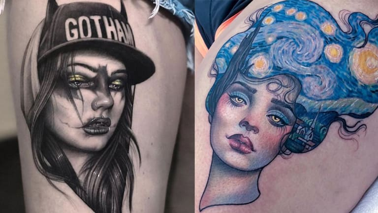 75 Beautiful Lady Head Tattoos by Some of the World's Best Artists