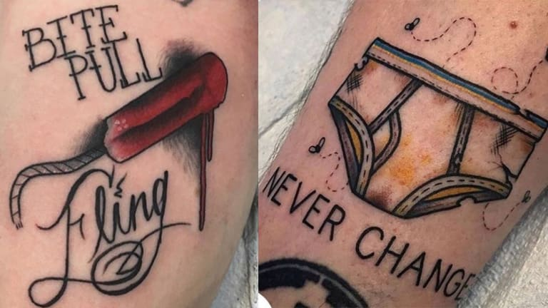 Bloody Tampons, Fresh Feces and Grandma's Boobs—25 Foul Tattoos