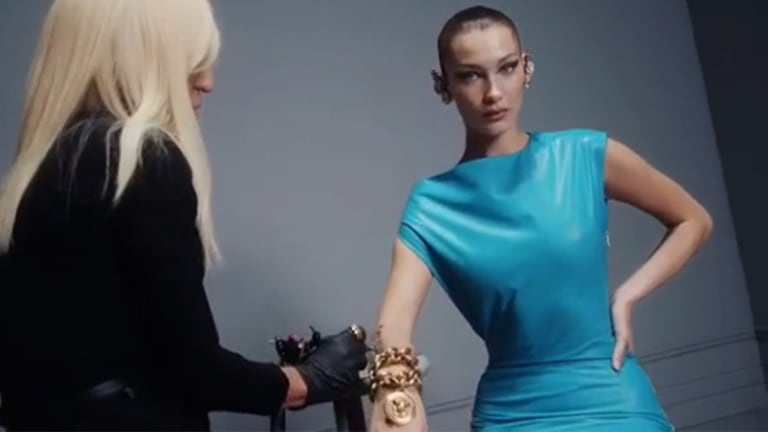 Bella Hadid Gets Tattooed By Donatella Versace For Edgy Fashion Campaign
