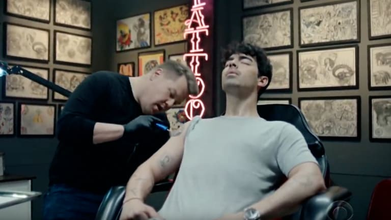 James Corden Ambushes Joe Jonas' Tattoo Session