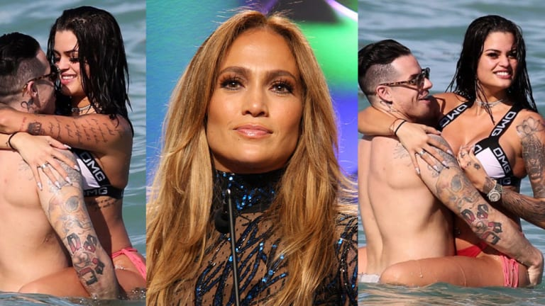 J-Lo's Ex Casper Smart Gets Busy on the Beach with Smoking Hot Tattoo Model