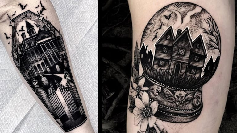 25 Spooky Haunted House Tattoos