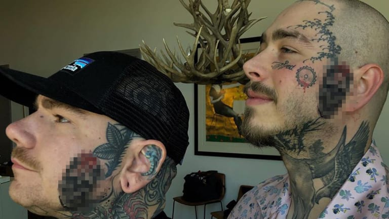 Post Malone Got a Matching Face Tattoo with His Artist
