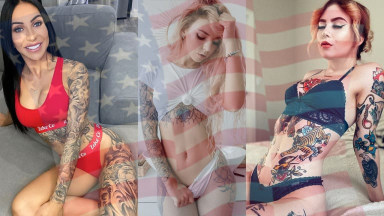 50 Tattooed Babes in Red, White and Blue