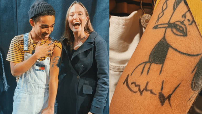 Angelina Jolie Reacts to a Superfan's Tattoo