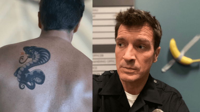 Nathan Fillion's Holiday May Have Included a Snake Tattoo
