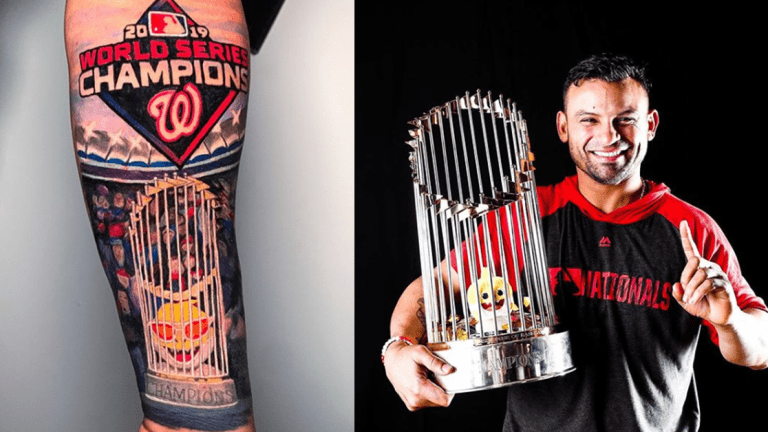 Gerardo Parra Celebrates the World Series Title With a Tattoo