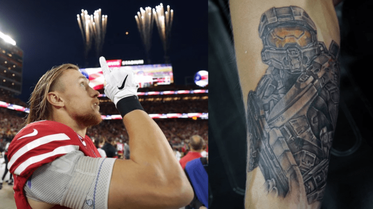 49er George Kittle Gets a 'Halo' Tattoo
