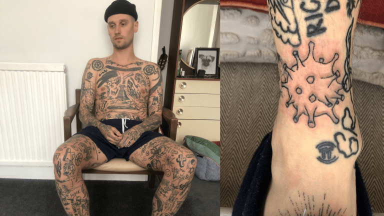 Meet the Tattooer Who's Been Tattooing Himself for 44 Days Straight... So Far