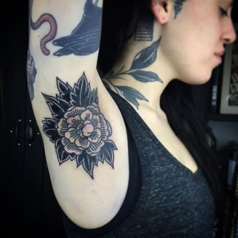 Stormy armpit tattoo by Esther De Miguel.