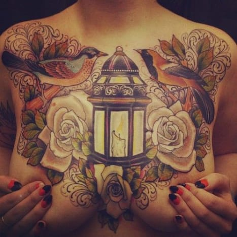 This chest piece looks so real you almost expect the candle to give off heat.