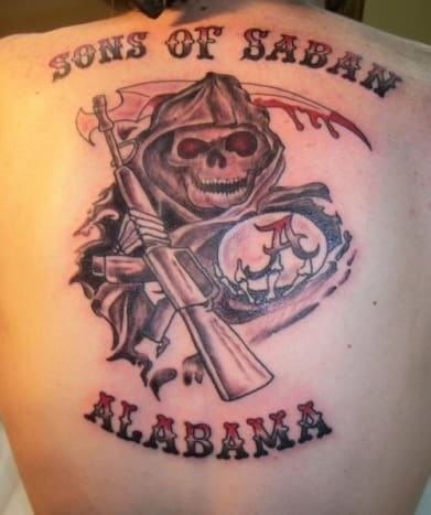 Alabama - This tattoo clearly doesn't belong to an Auburn fan.