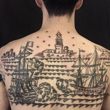This amazing back piece is by Duke Riley.