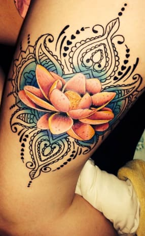 This lotus and mandala compliment each other beautifully.