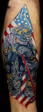 This tribute to the firefighters of 9/11 was inked by Cecil Porter.