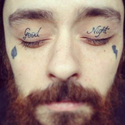 This guy is covered in case he falls asleep without remembering to say good night.