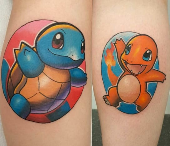 These two cute Pokémon tattoos were done by Chris Morris.