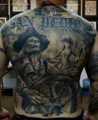 Carlos Torres is the mastermind behind this swashbuckling back piece.