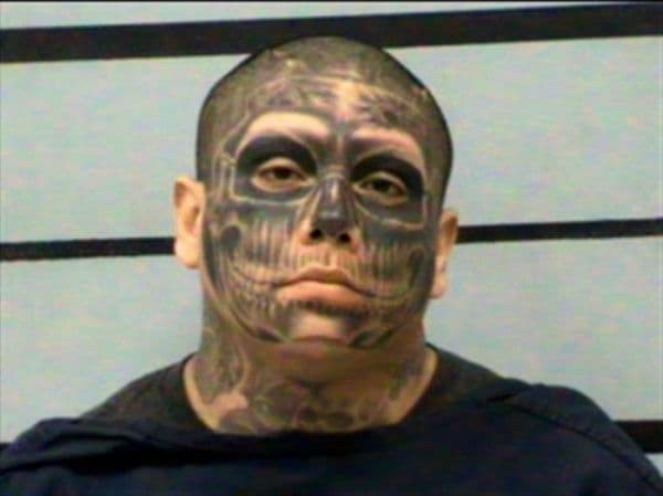 Man With Facial Skull Tattoo Escapes Ca Chain Gang Tattoo Ideas