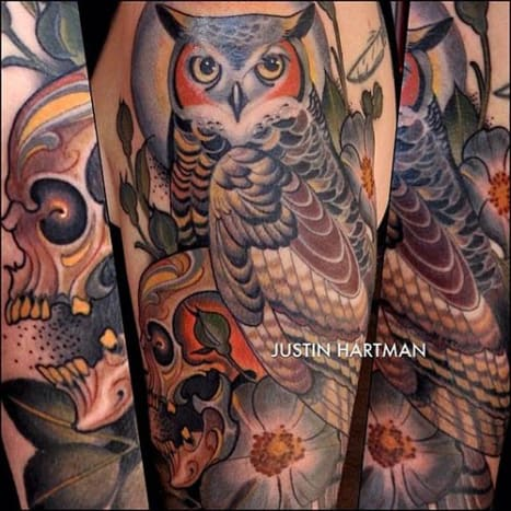 The owl may be wise, but whoever asked Hartman to do this tattoo for him was even wiser.