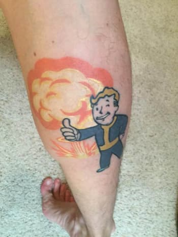 Vault Boy looking his best. Tattoo belongs to DuhACoolKid