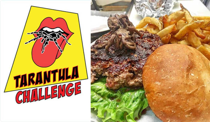 If you were able to eat the entire burger you'd receive one of their limited-edition Tarantula Challenge t-shirts and get your picture taken for social media fame and glory.