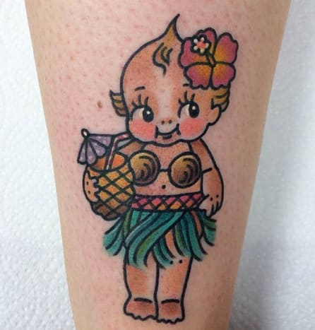 This Kewpie enjoys her tropical beverages. Tattoo by Jenn Matthews.