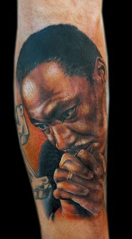 This portrait of Dr. King deep in thought was inked by Cecil Porter.