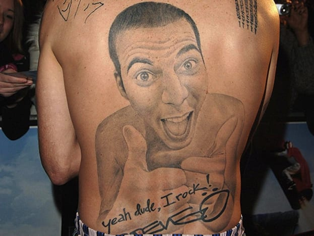 Several years ago, reality star and world famous prankster Steve-O of the Jackass franchise, got a back tattoo of his own portrait.