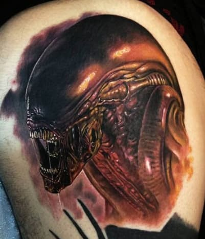 In space no one can hear you scream, but they can appreciate this tattoo by Paul Acker.