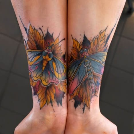 These butterflies and warm hued leaves by Dusty Brasseur