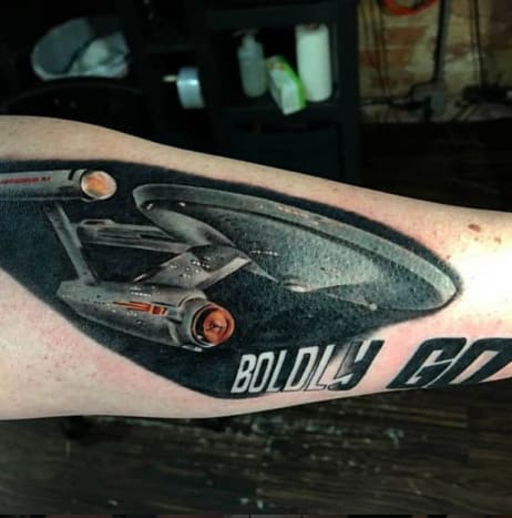 The Enterprise is the real star of all of the Star Trek adventures. Tattoo by Johnny Flash
