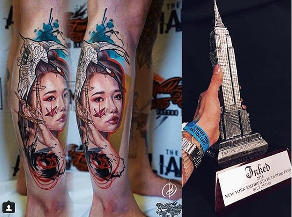"""Photo via @pirojenko_tattooThis Russian Tattoo artist won two awards, one for """"Best of Day"""" and one for """"Best Original/second place."""" Well done."""