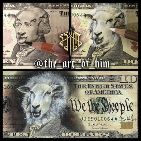 "This piece titled ""We the Sheeple"" was designed by tattooist Boden Him."