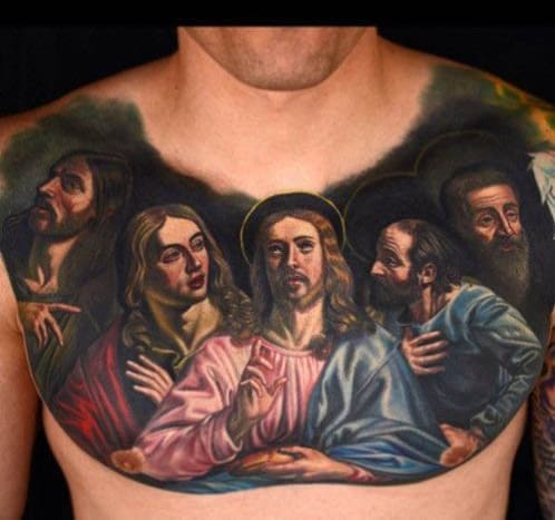 This depiction of the Last Supper was tattooed by Nikko Hurtado.
